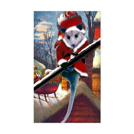Possum Santa on Rooftop Rectangle Sticker