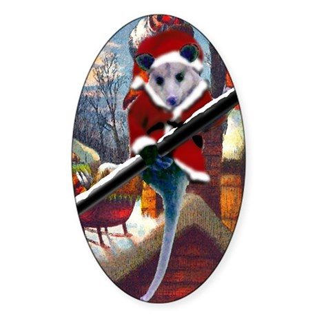 Possum Santa on Rooftop Oval Sticker