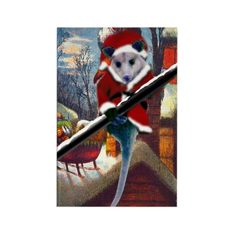 Possum Santa on Rooftop Rectangle Magnet (100 pack