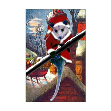 Possum Santa on Rooftop Mini Poster Print