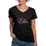 Ella Pink Script Women's V-Neck Dark T-Shirt