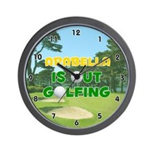 Arabella is Out Golfing (Gold) Golf Wall Clock