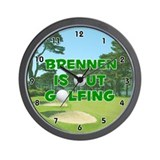 Brennen is Out Golfing (Green) Golf Wall Clock
