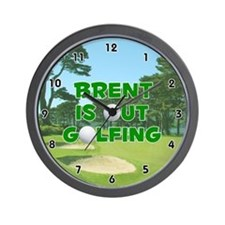 Brent is Out Golfing (Green) Golf Wall Clock
