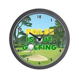 Bailee is Out Golfing (Gold) Golf Wall Clock