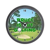 Bruce is Out Golfing (Green) Golf Wall Clock
