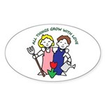All Thing Grow with Love Oval Sticker