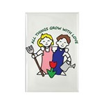 All Thing Grow with Love Rectangle Magnet (10 pack