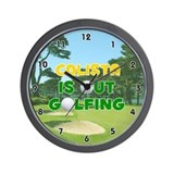 Calista is Out Golfing (Gold) Golf Wall Clock