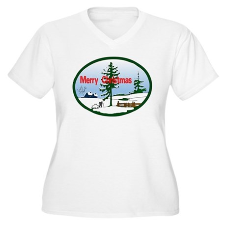 Christmas Snow Women's Plus Size V-Neck T-Shirt