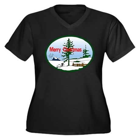 Christmas Snow Women's Plus Size V-Neck Dark T-Shi