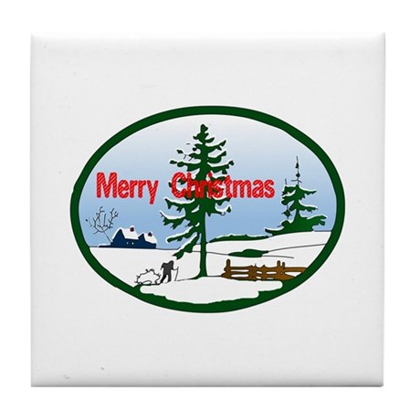 Christmas Snow Tile Coaster