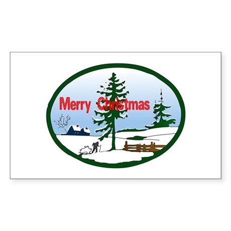 Christmas Snow Rectangle Sticker