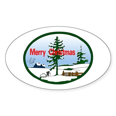 Christmas Snow Oval Sticker