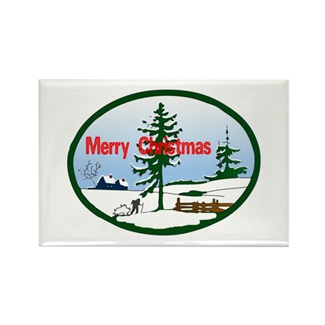 Christmas Snow Rectangle Magnet