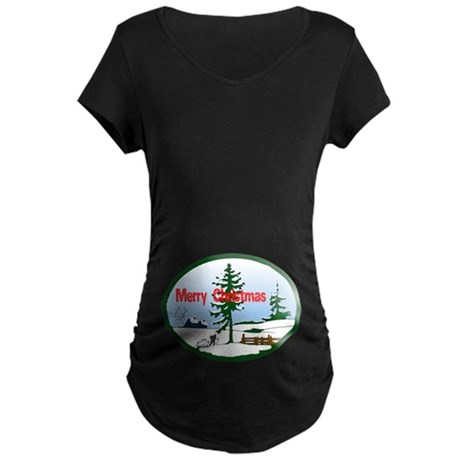 Christmas Snow Maternity Dark T-Shirt