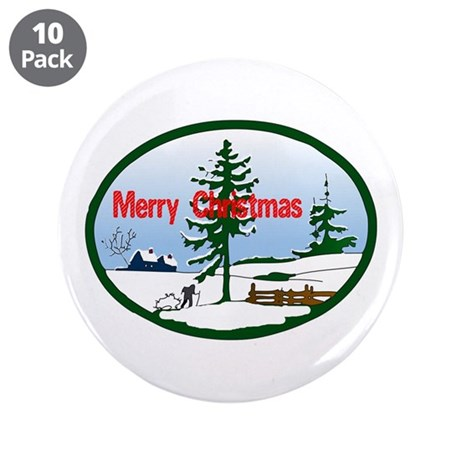 "Christmas Snow 3.5"" Button (10 pack)"