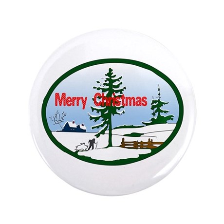 "Christmas Snow 3.5"" Button (100 pack)"