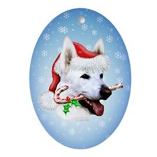 White Shep Holiday Oval Ornament