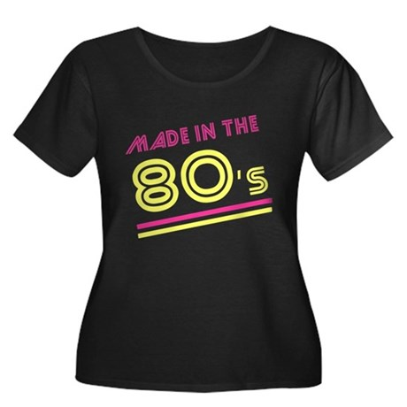 Made in the 80's Womens Plus Size Scoop Neck Dark
