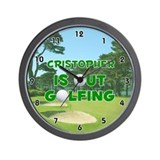 Cristopher is Out Golfing (Green) Golf Wall Clock