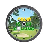 Celia is Out Golfing (Gold) Golf Wall Clock