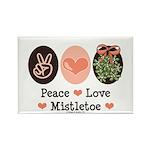 Peace Love Mistletoe Christmas Rectangle Magnet