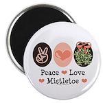 Peace Love Mistletoe Christmas Magnet