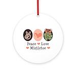Peace Love Mistletoe Christmas Ornament (Round)