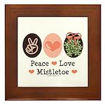 Peace Love Mistletoe Christmas Framed Tile