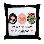 Peace Love Mistletoe Christmas Throw Pillow
