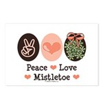 Peace Love Mistletoe Christmas Postcards (Package