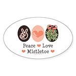 Peace Love Mistletoe Christmas Oval Sticker