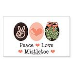 Peace Love Mistletoe Christmas Sticker (Rectangula
