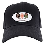 Peace Love Mistletoe Christmas Black Cap