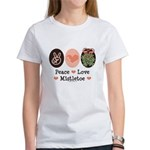 Peace Love Mistletoe Christmas Women's T-Shirt