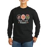 Peace Love Mistletoe Christmas Long Sleeve Dark T-