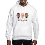 Peace Love Mistletoe Christmas Hooded Sweatshirt
