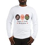 Peace Love Mistletoe Christmas Long Sleeve T-Shirt