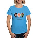 Peace Love Mistletoe Christmas Women's Dark T-Shir