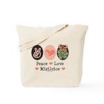 Peace Love Mistletoe Christmas Tote Bag