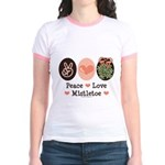 Peace Love Mistletoe Christmas Jr. Ringer T-Shirt