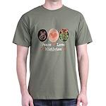 Peace Love Mistletoe Christmas Dark T-Shirt