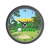 Chaya is Out Golfing (Gold) Golf Wall Clock