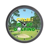 Citlali is Out Golfing (Gold) Golf Wall Clock