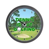 Dennis is Out Golfing (Green) Golf Wall Clock