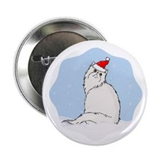 "Winter Persian Cat 2.25"" Button (10 pack)"