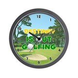 Destiney is Out Golfing (Gold) Golf Wall Clock