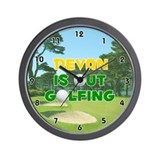 Devan is Out Golfing (Gold) Golf Wall Clock
