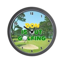Don is Out Golfing (Gold) Golf Wall Clock